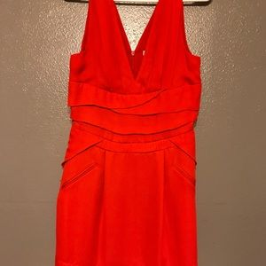 Red dress low cut front